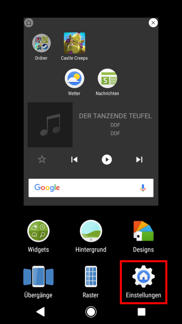 homescreen ändern
